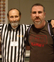 Chuck Van Pelt with Walter Day at the 2010 NW Pinball and Gameroom Show