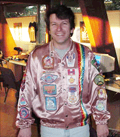 Rick Weis showing off his vintage satin Activision jacket